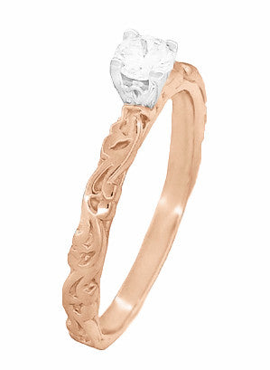 Art Deco Scrolls Diamond Engagement Ring in 14 Karat Rose Gold - Item: R639RD - Image: 2