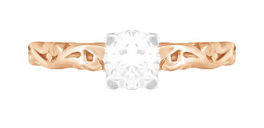 Art Deco Scrolls Diamond Engagement Ring in 14 Karat Rose Gold - Item: R639RD - Image: 3