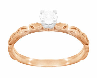 Art Deco Scrolls Diamond Engagement Ring in 14 Karat Rose Gold - Item: R639RD - Image: 1