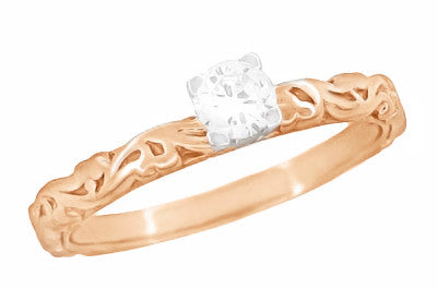 Art Deco Scrolls White Sapphire Engagement Ring in 14 Karat Rose Gold - Item: R639RWS - Image: 1