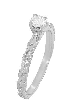 Art Deco Scrolls Diamond Engagement Ring in 14 Karat White Gold - Item: R639WD - Image: 2
