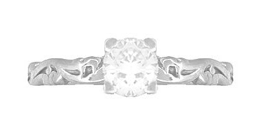 Art Deco Scrolls Diamond Engagement Ring in 14 Karat White Gold - Item: R639WD - Image: 4