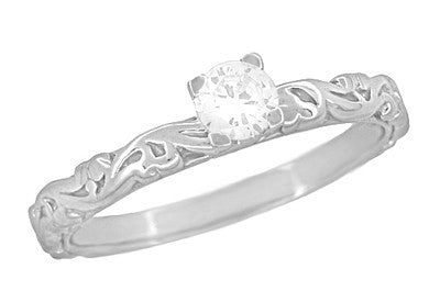 Art Deco Scrolls Diamond Engagement Ring in 14 Karat White Gold
