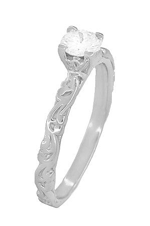 Art Deco Scrolls White Sapphire Engagement Ring in 14 Karat White Gold - Item: R639WWS - Image: 2