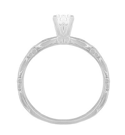 Art Deco Scrolls White Sapphire Engagement Ring in 14 Karat White Gold - Item: R639WWS - Image: 4