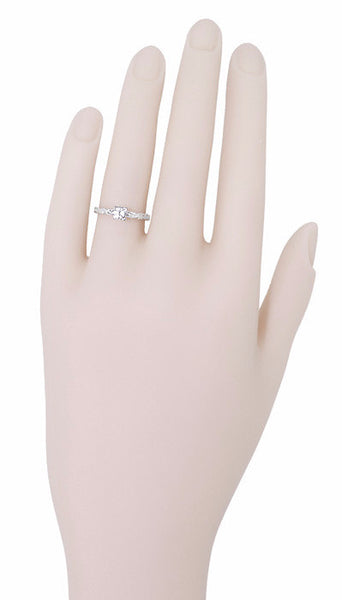 Art Deco Scrolls White Sapphire Engagement Ring in 14 Karat White Gold - Item: R639WWS - Image: 5