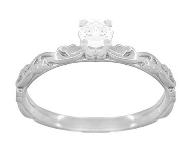 Art Deco Scrolls White Sapphire Engagement Ring in 14 Karat White Gold - Item: R639WWS - Image: 1