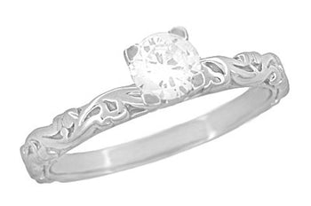Art Deco Scrolls White Sapphire Engagement Ring in 14 Karat White Gold