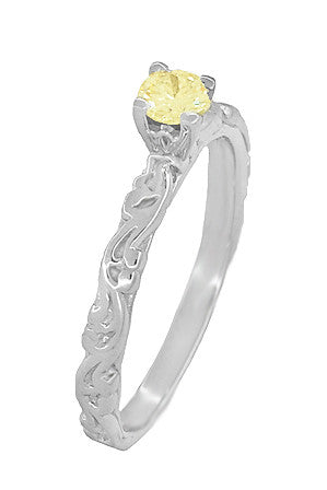 Art Deco Scrolls Fancy Yellow Diamond Engagement Ring in 14 Karat White Gold - Item: R639WYD - Image: 2