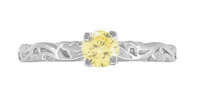 Art Deco Scrolls Fancy Yellow Diamond Engagement Ring in 14 Karat White Gold - Item: R639WYD - Image: 3