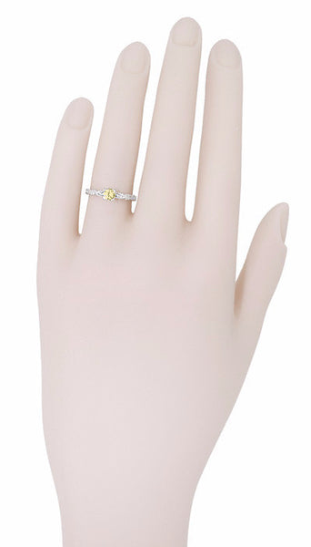 Art Deco Scrolls Fancy Yellow Diamond Engagement Ring in 14 Karat White Gold - Item: R639WYD - Image: 5