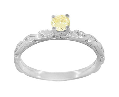 Art Deco Scrolls Fancy Yellow Diamond Engagement Ring in 14 Karat White Gold - Item: R639WYD - Image: 1