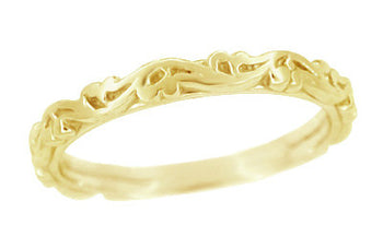 Yellow Gold Art Deco Antique Scrolls Wedding Band