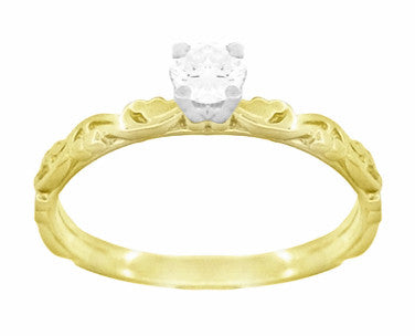 Art Deco Scrolls White Sapphire Engagement Ring in 14 Karat Yellow Gold - Item: R639YWS - Image: 2