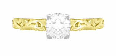 Art Deco Scrolls White Sapphire Engagement Ring in 14 Karat Yellow Gold - Item: R639YWS - Image: 4