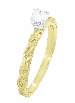 Art Deco Scrolls White Sapphire Engagement Ring in 14 Karat Yellow Gold - Item: R639YWS - Image: 1