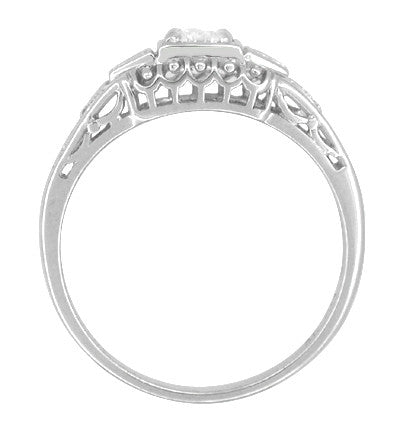 Art Deco Filigree Diamond Engagement Ring in 14 Karat White Gold - Item: R640 - Image: 2