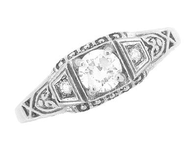 Art Deco Filigree 1/4 Carat Certified Diamond Platinum Engagement Ring - Low Profile - Item: R640P - Image: 3