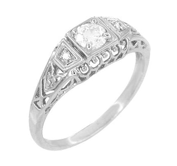 Art Deco Filigree 1/4 Carat Certified Diamond Platinum Engagement Ring - Low Profile
