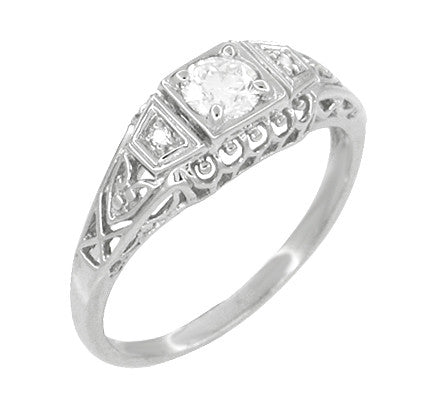 Art Deco Filigree Palladium Diamond Engagement Ring - Item: R640PDM - Image: 2