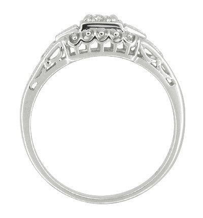 Art Deco Filigree Palladium Diamond Engagement Ring - Item: R640PDM - Image: 1