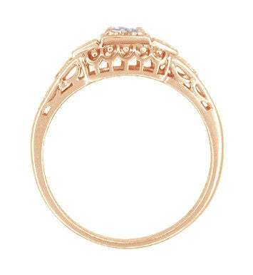 Art Deco Filigree Diamond Engagement Ring in 14 Karat Rose ( Pink ) Gold - Item: R640R - Image: 2