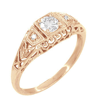 Art Deco Filigree Diamond Engagement Ring in 14 Karat Rose ( Pink ) Gold - Item: R640R - Image: 1