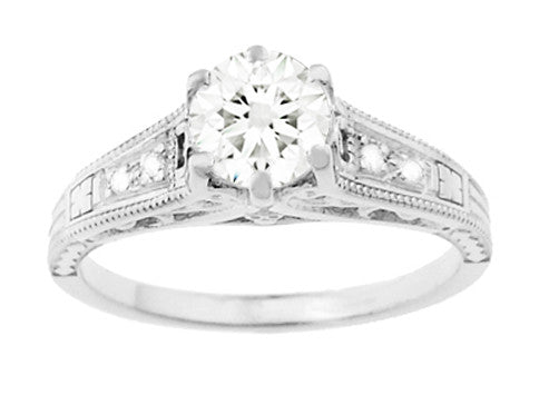 Art Deco Antique Style 3/4 Carat Diamond Filigree Engagement Ring in 14 Karat White Gold - Item: R643 - Image: 3