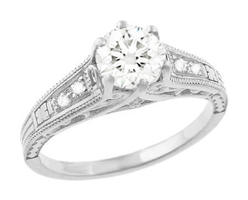 Art Deco Antique Style 3/4 Carat Diamond Filigree Engagement Ring in 14 Karat White Gold