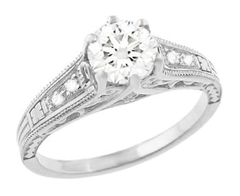Art Deco 3/4 Carat Filigree Diamond Engagement Ring in Platinum