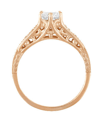 Art Deco Diamond Filigree Engagement Ring in 14 Karat Rose ( Pink ) Gold - Item: R643R - Image: 2