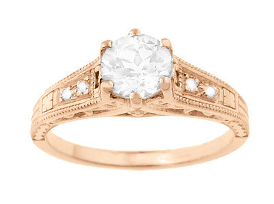 Art Deco Diamond Filigree Engagement Ring in 14 Karat Rose ( Pink ) Gold - Item: R643R - Image: 3