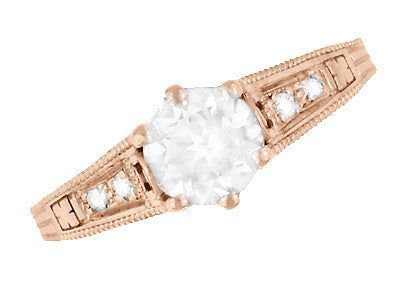 Art Deco Diamond Filigree Engagement Ring in 14 Karat Rose ( Pink ) Gold - Item: R643R - Image: 4
