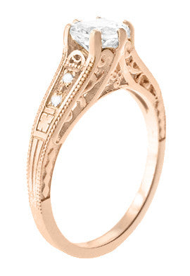 Art Deco Diamond Filigree Engagement Ring in 14 Karat Rose ( Pink ) Gold - Item: R643R - Image: 1