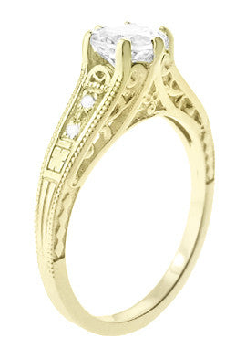 14K Yellow Gold Filigree Art Deco Vintage Style Diamond Engagement Ring - 3/4 Carat T.W. - Item: R643Y - Image: 1