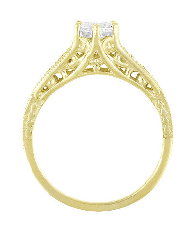 14K Yellow Gold Filigree Art Deco Vintage Style Diamond Engagement Ring - 3/4 Carat T.W. - Item: R643Y - Image: 2