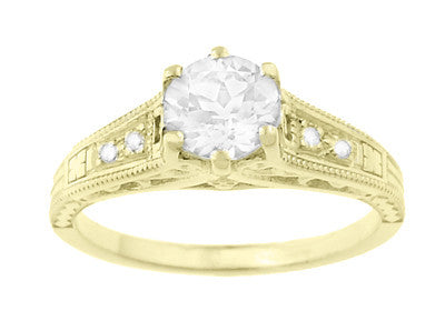14K Yellow Gold Filigree Art Deco Vintage Style Diamond Engagement Ring - 3/4 Carat T.W. - Item: R643Y - Image: 3