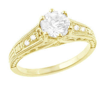 14K Yellow Gold Filigree Art Deco Vintage Style Diamond Engagement Ring