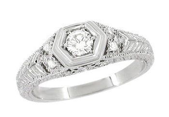 Filigree Engraved Hexagon Art Deco 1/4 Carat Diamond Engagement Ring in 14 Karat White Gold | Low Profile Engagement