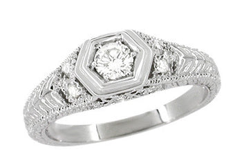 Art Deco Engraved Filigree Heirloom Diamond Engagement Ring in Platinum