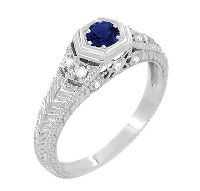 Art Deco Filigree Sapphire and Diamond Engagement Ring in 14 Karat White Gold | Antique Inspired Low Profile Ring - Item: R646W14S - Image: 2
