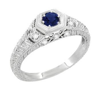 Art Deco Filigree Sapphire and Diamond Engagement Ring in 14 Karat White Gold | Antique Inspired Low Profile Ring