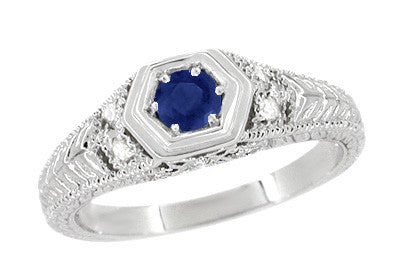Art Deco Filigree Sapphire and Diamond Engagement Ring in 14 Karat White Gold | Antique Inspired Low Profile Ring - Item: R646W14S - Image: 1