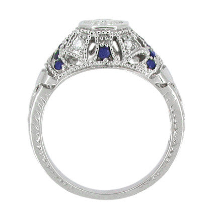 Art Deco Filigree Vintage Inspired Diamond Engagement Ring with Side Sapphires in 14 Karat White Gold - Item: R647 - Image: 2