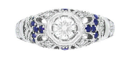 Art Deco Filigree Vintage Inspired Diamond Engagement Ring with Side Sapphires in 14 Karat White Gold - Item: R647 - Image: 3