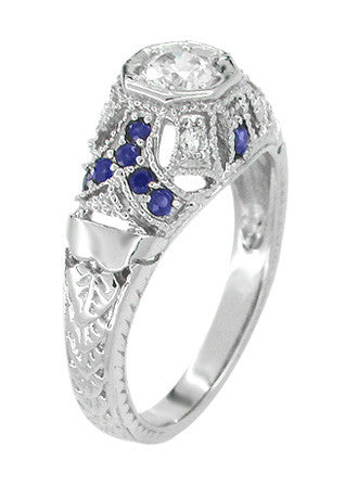 Art Deco Filigree Vintage Inspired Diamond Engagement Ring with Side Sapphires in 14 Karat White Gold - Item: R647 - Image: 1