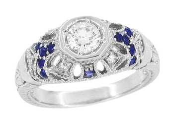 Art Deco Filigree Vintage Inspired Diamond Engagement Ring  with Side Sapphires in 14 Karat White Gold