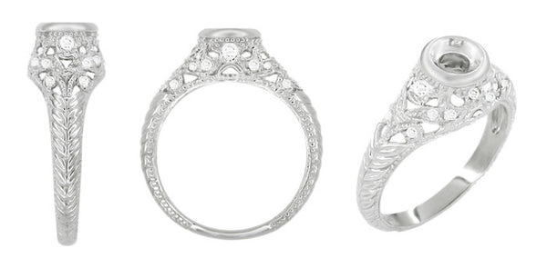 Art Deco Filigree Engagement Ring Setting in 14 Karat White Gold for a 1/4 - 1/3 Carat Diamond - Item: R648 - Image: 1