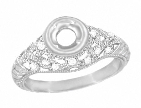 Art Deco Filigree Engagement Ring Setting in 14 Karat White Gold for a 1/4 - 1/3 Carat Diamond