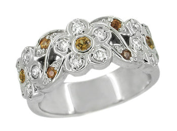 Spessartite Garnet and White Diamond Floral Wedding Band in 14 Karat White Gold